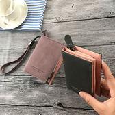 新款短款手腕帶錢包日韓版拉鍊搭扣兩折手拿包女零錢 全館免運