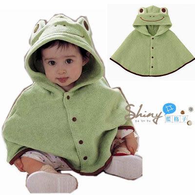 【TZ134】shiny藍格子-寶寶青蛙造型衣斗蓬披風披肩