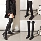 膝上靴 過膝長靴女秋冬季新款百搭顯瘦長筒靴女瘦瘦靴平底彈力皮靴子  poly girl