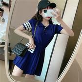 VK精品服飾 韓國學院風短袖T恤高腰百褶短裙套裝短袖裙裝