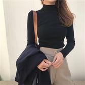 秋季純色半高領緊身針織衫套頭薄款修身打底衫百搭長袖T恤女上衣