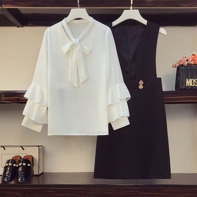 中大尺碼實拍早秋新款顯瘦套裝小香風洋氣背帶連衣裙兩件套8179.4F082.依品國際