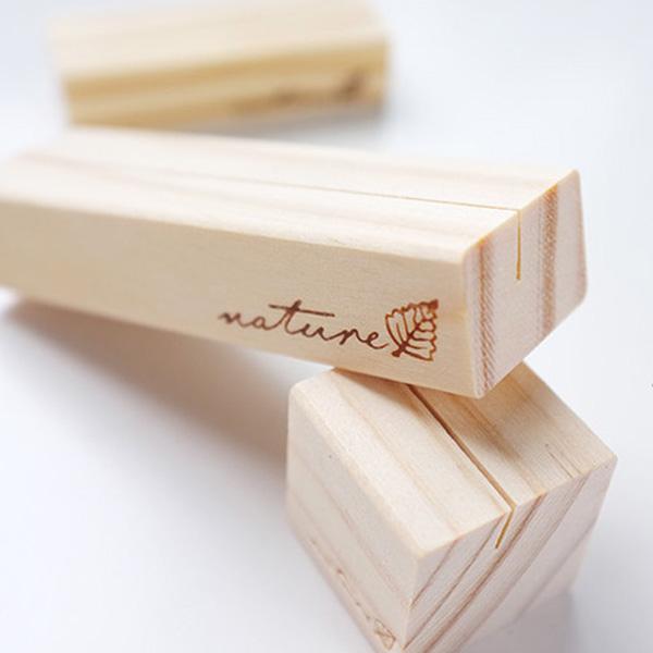 【BlueCat】復刻NATURE小樹葉方塊木質便簽夾名片夾 照片夾 留言夾 (方)