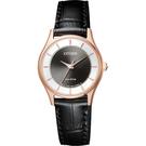CITIZEN 星辰 光動能城市女錶-玫瑰金框x黑/27mm EM0402-05E
