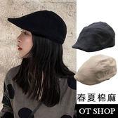OT SHOP帽子 男女款素面春夏棉麻小偷帽扁帽 黑色超質感穿搭配件 帽圍鬆緊帶 實拍實穿 現貨 C2077