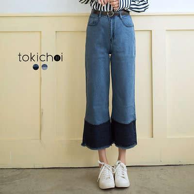東京著衣-潮流剪接牛仔寬褲-S.M.L(171668)