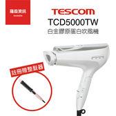 【註冊贈】TESCOM TCD5000TW TCD5000 白金膠原蛋白 負離子 吹風機 日本製 白色