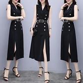 無袖洋裝 冷淡風裙子2020夏季新款極簡西裝收腰顯瘦中長款性感開叉連衣裙女