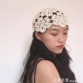 帽子 民族風文藝復古棉線針織花朵頭巾帽女氣質春夏秋透氣鏤空包頭帽