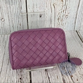 BRAND楓月 Bottega Veneta BV 經典款 淡紫色 編織 零錢包 卡包 錢包