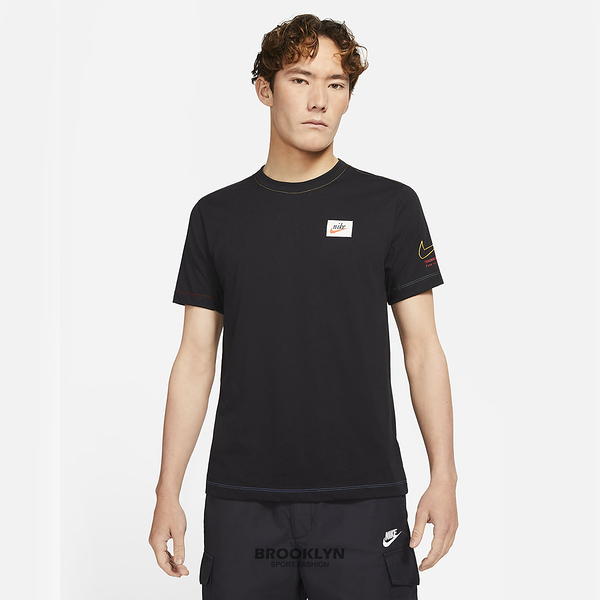 NIKE 短T SPORTSWEAR 黑色 復古標 刺繡勾 休閒 短袖 男 (布魯克林) DJ1394-010