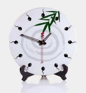 陶瓷鐘創意中式水墨座鐘