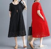 新品秒殺中大尺碼洋裝春夏新款大碼女裝A字大擺中裙文藝範素色蕾絲鏤空提花短袖連身裙