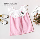花朵刺繡荷葉領粉紅格紋無袖上衣 棉麻 歐...