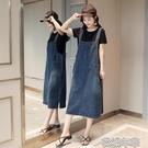 減齡牛仔背帶裙女夏季新款韓版寬鬆中長吊帶大碼連身裙 花樣年華