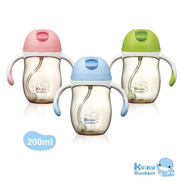 KUKU 酷咕鴨 頂級PPSU訓練杯 200ml-天空藍/櫻花粉/草原綠