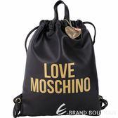 LOVE MOSCHINO 金字附鑽心吊飾束口皮革後背包(黑色) 1830385-24