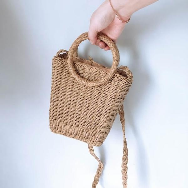編織包 手提包斜挎編織包沙灘草編包簡約草包百搭