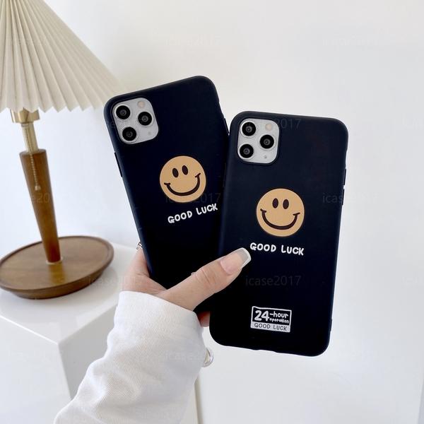 笑臉表情 iPhone 12 Pro i11 XR XSmax i7 i8 Plus SE2 黑色素面 簡約手機殼 軟殼保護套 有掛繩孔