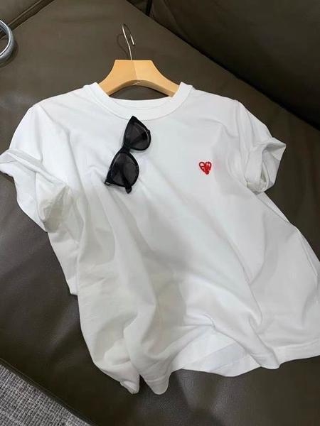 品牌折扣清倉!夏季新款設計小眾款JIN口棉兩色紅色心跳T恤女