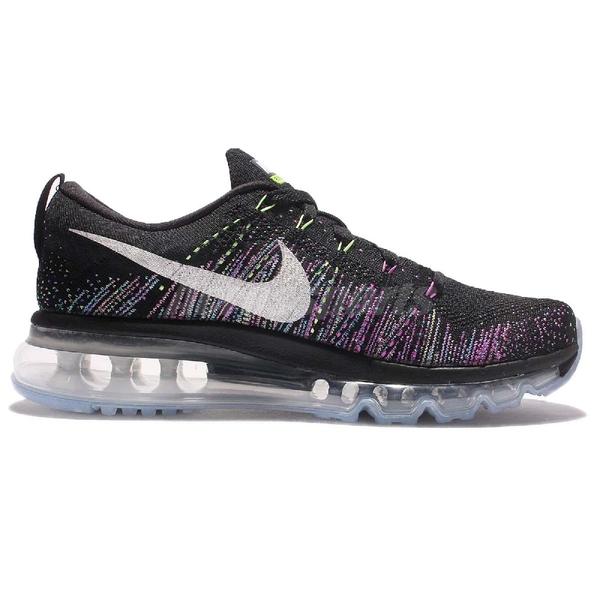 【US7-NG出清】Nike 慢跑鞋 Wmns Flyknit Max 二手鞋 無原盒 冰底發黃 黑 彩虹 編織 女鞋 運動鞋【ACS】