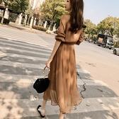 雪紡洋裝 雪紡洋裝女神范夏裝年秋裝新款裙子收腰顯瘦顯高氣質長裙潮
