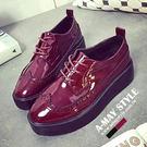 現貨-厚底鞋-英倫風雕花漆皮鬆糕紳士鞋
