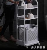 可移動衣服收納筐臟衣簍收納架家用收納桶洗衣籃浴室推車置物架 FF1241【男人與流行】