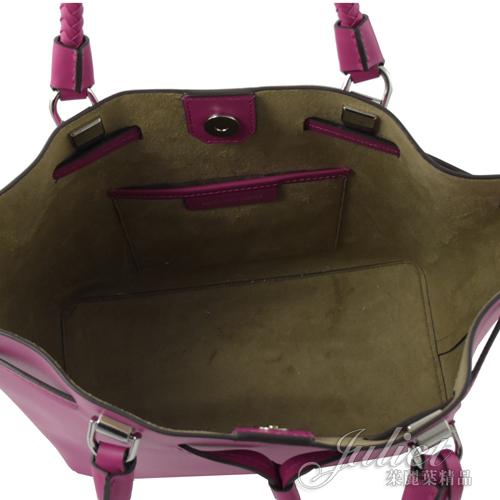 茱麗葉精品【全新現貨】MICHAEL KORS BLAKELY 編織手提束口兩用水桶包.深紫紅 (專櫃款)