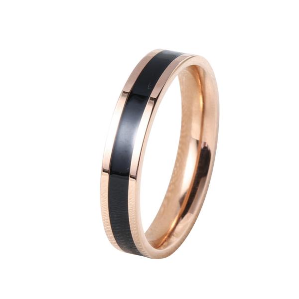戒指 時尚玫瑰金窄版網紅黑白陶瓷戒指 男女情侶指環對戒尾戒食指飾品 店慶降價