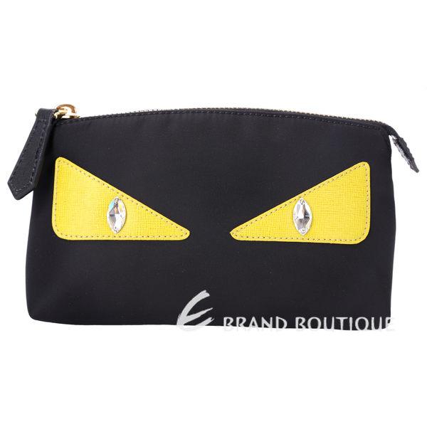 FENDI 怪獸寶石眼睛尼龍萬用化妝包(黑色) 1620220-01