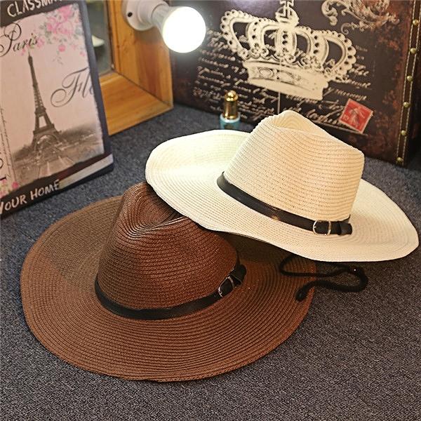 伊人 男士草帽可折疊牛仔帽戶外遮陽禮帽