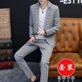 青年男士格子休閑西裝套裝韓版修身英倫風外套小西服一套潮流帥氣 蓓娜衣都