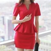 洋裝-荷葉邊氣質性感顯瘦修臀塑身短袖包臀連身裙2色71ar41[巴黎精品]