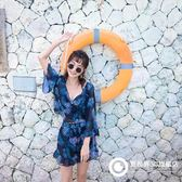 韓國性感鋼托聚攏分體比基尼四件套泳衣女保守遮肚平角溫泉泳裝