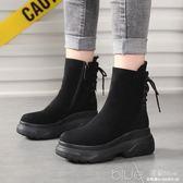 冬季靴子女鞋側拉鍊中筒靴圓頭高跟交叉綁帶布時裝靴絨面 深藏blue