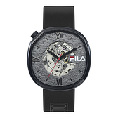 【FILA 斐樂】層次感隕石機械腕錶-個性黑/38-307-002/台灣總代理公司貨享兩年保固