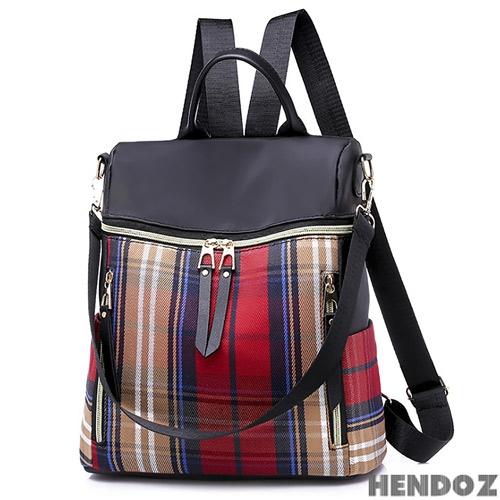 後背包-HENDOZ.時尚經典格紋配色肩/後背包(共二色)264