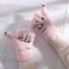 手套 手套冬天女ins可愛加絨保暖防寒觸屏軟妹騎車學生五指騎行春季【快速出貨八折下殺】