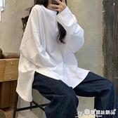 長袖T恤 ins超火T恤女春秋冬素色開叉長袖打底衫韓版潮學生外穿寬鬆上衣服 愛麗絲