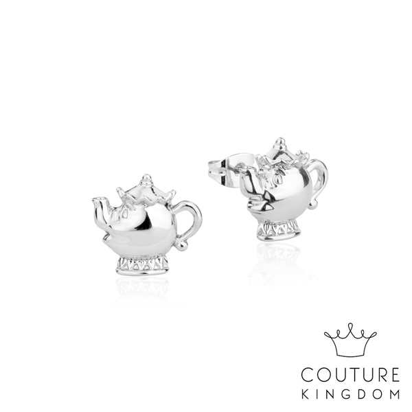 Couture Kingdom 迪士尼美女與野獸 茶壺夫人鍍14K白金耳釘 Beauty and the Beast Stud