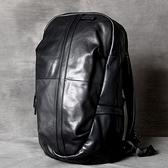 真皮後背包-黑色牛皮大容量休閒男女雙肩包73vz10【時尚巴黎】