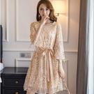 時尚佳人華麗流蘇亮片寬鬆腰綁結連身裙洋裝...