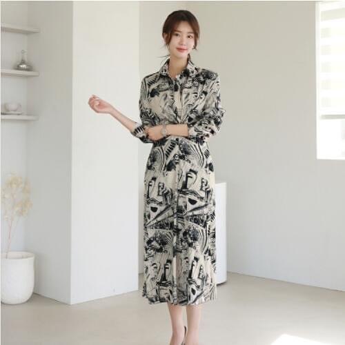 洋裝 襯衫裙 S-XL新款氣質長裙抽褶收腰顯瘦印花開叉襯衫連身裙NE49-7449.皇朝天下