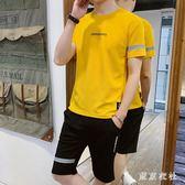 兩件套跑步男士短袖T恤夏裝潮流休閒運動夏季潮牌健身短褲套裝 QQ30212『東京衣社』