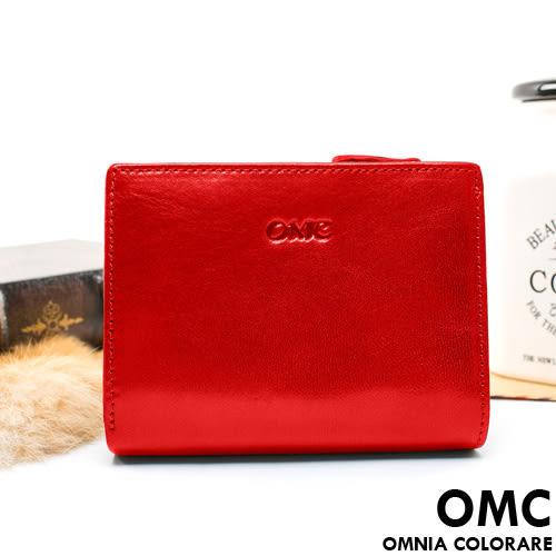 OMC - 原皮魅力真皮系列扣式加拉鏈短夾 - 經典紅