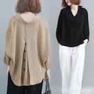 棉麻上衣 大碼女裝年新款春款高端襯衣女胖人洋氣遮肚寬鬆棉麻上衣襯衫 瑪麗蘇