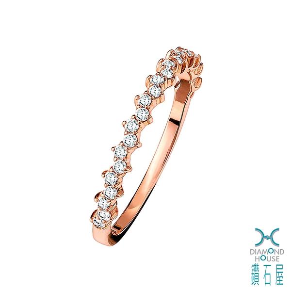 【鑽石屋】玫瑰金鑽石戒指 線戒 造型戒