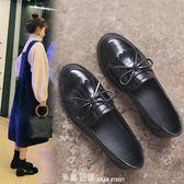 小皮鞋女新款春季春款春秋黑色一腳蹬單鞋樂福鞋英倫風女鞋 「米蘭街頭」
