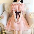 雪紡洋裝 2020年新款夏天法式小個子一字肩雪紡連身裙露肩裙子仙女超仙森系 艾維朵